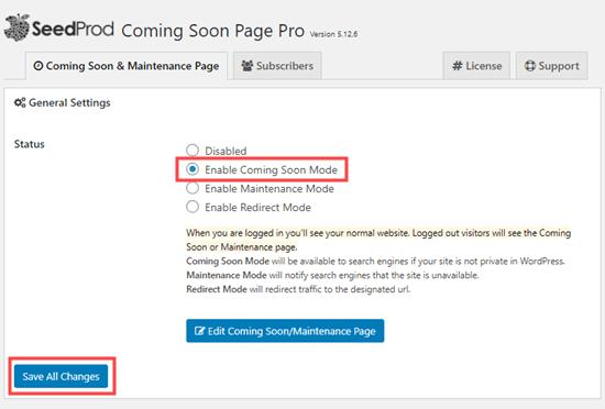 Bật chế độ sắp ra mắt trong SeedProd
