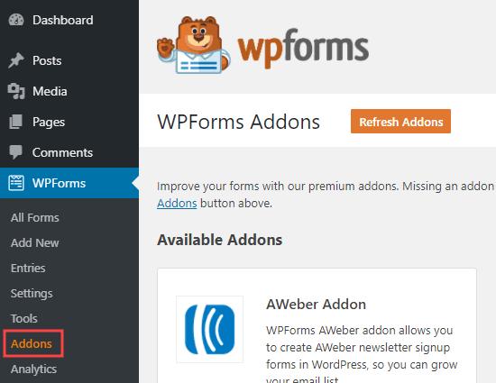 Trang addons WPForms trong quản trị viên WordPress của bạn