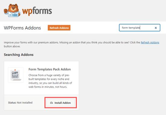 Tiện ích bổ sung Mẫu Mẫu cho WPForms