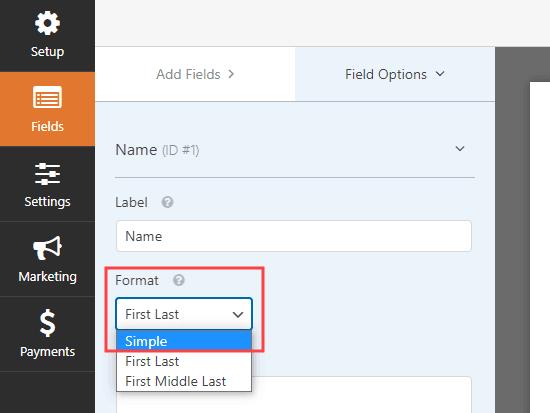Thay đổi trường tên trong WPForms