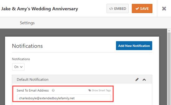 Thay đổi địa chỉ email Gửi tới cho biểu mẫu RSVP của bạn