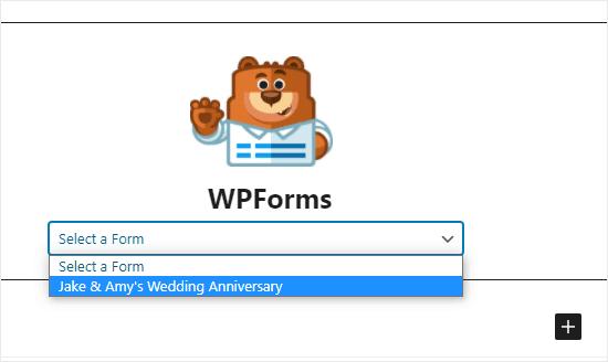 Chọn biểu mẫu RSVP từ danh sách thả xuống WPForms