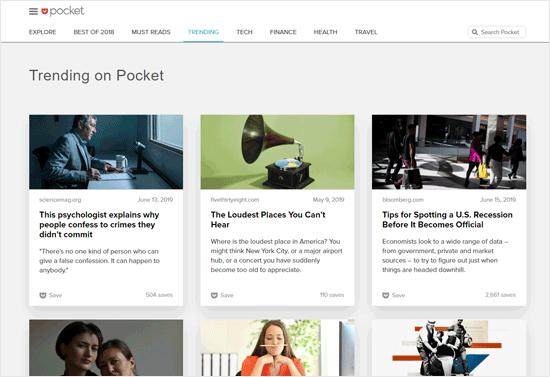 Trang web tổng hợp tin tức Pocket