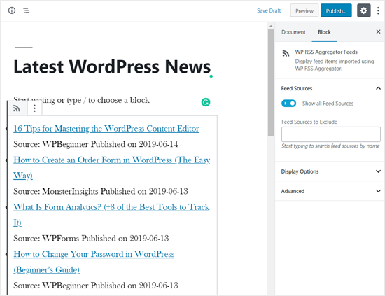 RSS News Feed được thêm vào trang WordPress