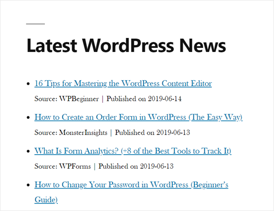 RSS News Feed trong WordPress Site Demo