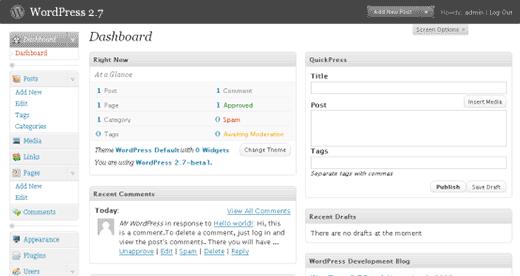 Bảng điều khiển WordPress 2.7