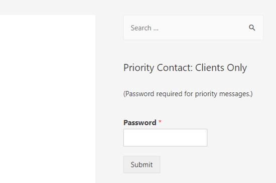 Một biểu mẫu được bảo vệ bằng mật khẩu trong thanh bên của trang WordPress