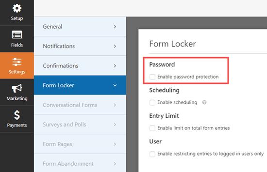 Đi tới trang cài đặt Trình khóa biểu mẫu trong WPForms và chọn hộp mật khẩu