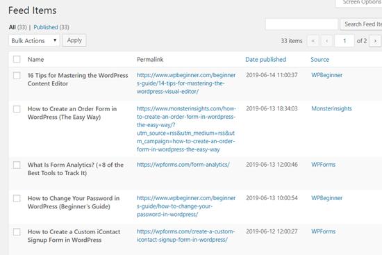 Các mục nguồn cấp dữ liệu tổng hợp WP RSS trong Bảng điều khiển WordPress